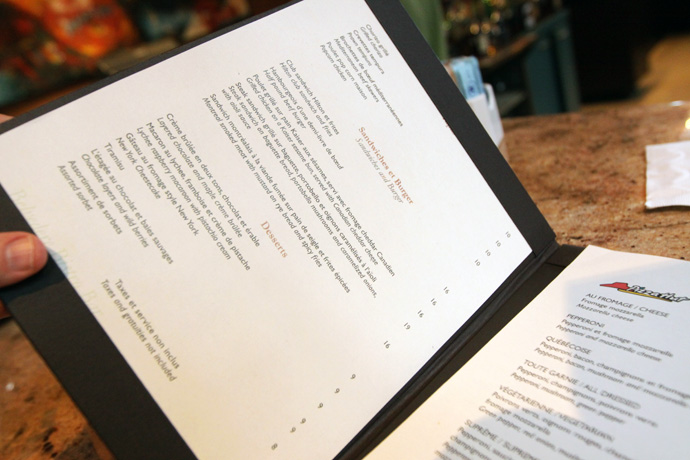 Restaurant-bar menu