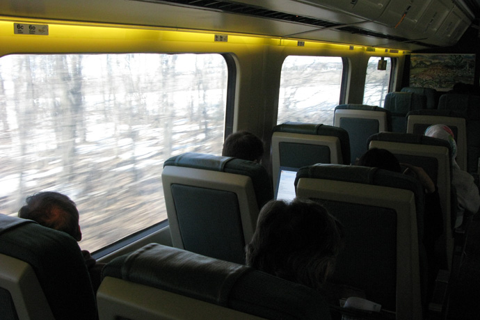 Inside the train looking out